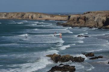 Windsurf in wild coast, Bretagne, France