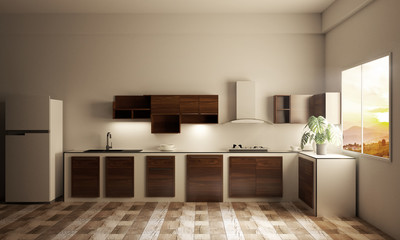 kitchen room interior with Kitchen counter on wooden tiles. 3D rendering