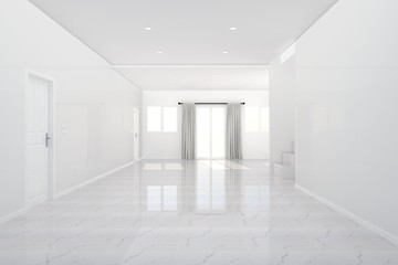 Beautiful - white room, Empty room and tiles floor , 3D rendering
