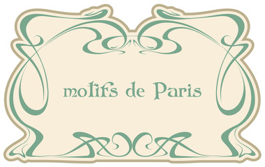 Motives Paris. Art nouveau. Vector isolate element. Vintage frame. Wedding invitation, birthday cards. Wall mural