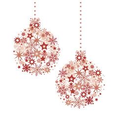 rote Weihnachts Christbaumkugeln zusammengesetzt aus Sternen