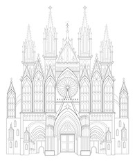 Fantasy drawing of medieval Gothic castle. Black and white page for coloring book. Worksheet for children and adults. Vector image.