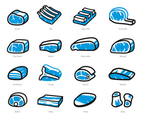Pieces of beef and pork freeze in general market for cooking(icon concept).