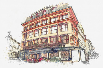 illustration or watercolor sketch. Traditional old architecture in Prague in the Czech Republic. European architecture.