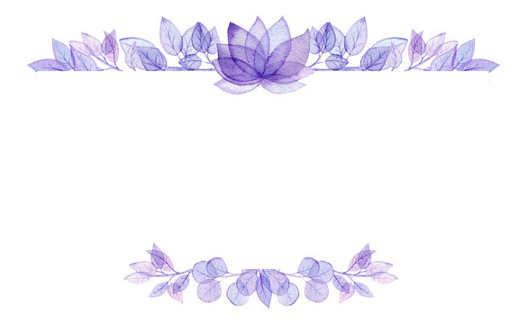 Card Template with Watercolor Violet Lotus