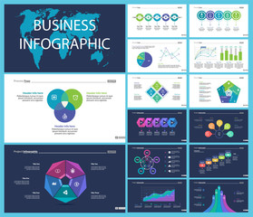 Business inforgraphic design set for strategy concept. Can be used for business project, annual report, web design. Process chart, option chart, flowchart, scatter plot, line graph