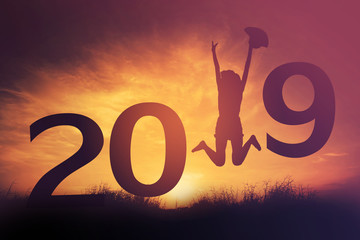 2019 happy new years christmas eve, Silhouette woman is jumping in outdoor