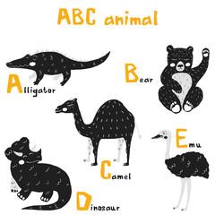 Scandi cute Animals set abc alphabet