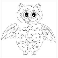 Coloring page with symbol moon, sun, owl. coloring book for adult, antistress, album, wall mural, art, tattoo. Black and white outline illustration.