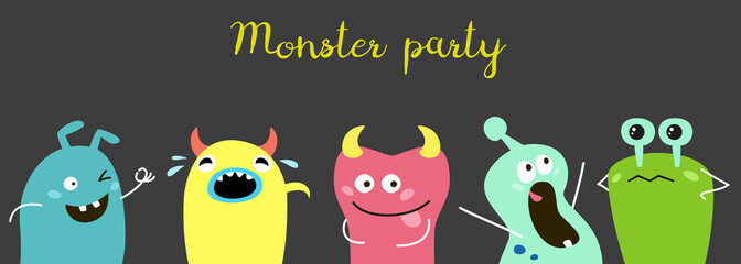 Poster with cute cartoon monsters.