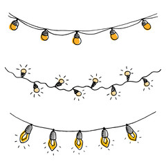 Set of hand drawn sketch garlands with light bulbs.