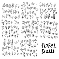 Set of vector Floral doodle drawing icon Collection on white background eps10