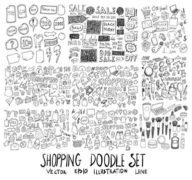 Set of vector Shopping doodle drawing icon Collection on white background eps10