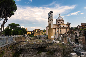 View to ruins of Roman Forum in city of Rome. The Roman Forum.  Rome, Italy.