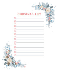 Christmas To Do Checklist with froral corner frame decoration. Isolated frame on a white background.