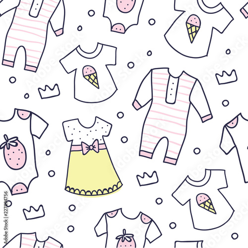 aec9046d0db6 Baby shower seamless pattern of baby girl clothes