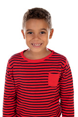 Beautiful latin child with red striped shirt