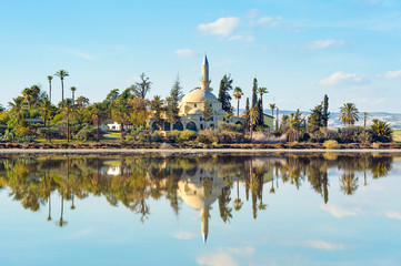 Hala Sultan Tekke Mosque on Salt lake, Larnaka, Cyprus
