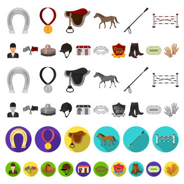 Hippodrome and horse cartoon icons in set collection for design. Horse Racing and Equipment vector symbol stock web illustration.