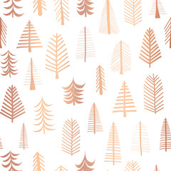 Seamless Christmas trees copper foil vector pattern backdrop. Metallic shiny rose golden doodle trees on white background. Elegant design for Christmas, New Year, gift wrap, party invitation, card