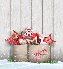 Group of Christmas ornaments in old wooden box