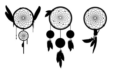 Set of 3 Dreamcatcher silhouettes, ethnic vector illustration EPS 10 isolated on white. Suitable for printing on a t-shirt