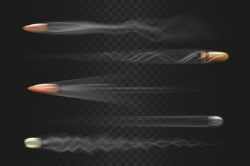Realistic flying bullet with smoke trace isolated on transparent background, a set of fired bullets in motion, various firearm projectiles vector illustrations
