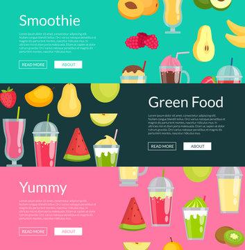 Vector flat smoothie elements web banner templates illustration. Set of horizontal poster