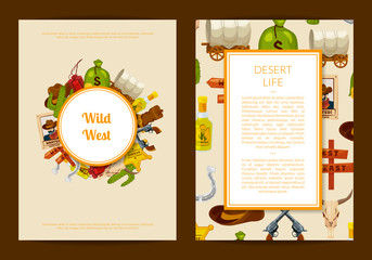 Vector cartoon wild west elements card or flyer template illustration isolated