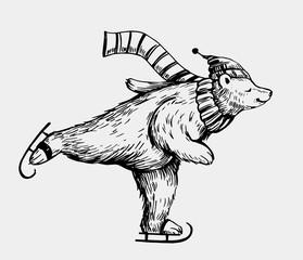 Polar bear skating. Hand drawn illustration converted tovector