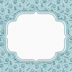 Teal and white dog pattern border with copy space