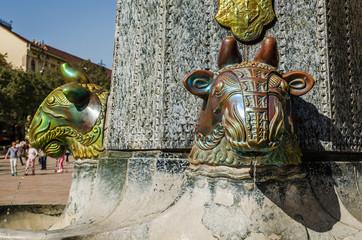 Pecs, Hungary - October 06, 2018: Zsolnay fountain landmark Pecs