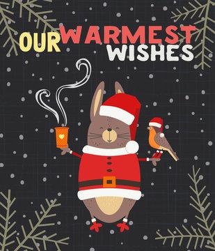 Fancy seasonal poster. Cartoon humor comic rabbit bunny, robin bird in red santa hat. Merry Christmas winter season greeting card wish. Holiday cute flyer background. Vector New Year eve fun banner