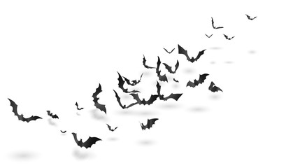Bats - Halloween 3D Design. Cute Horror Background With Shadows for Stickers, T-shorts and other