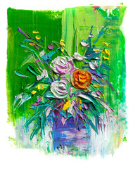 Roses bouquet on painting grunge background