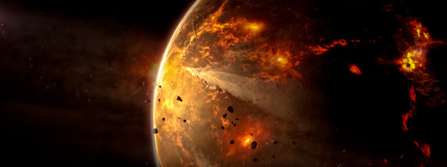 Landscape in fantasy alien star flaming with galaxy background. Elements of this image furnished by...