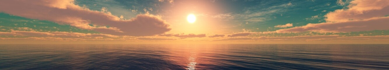 Beautiful sea sunset, panorama of ocean sunrise, clouds and the sun over the water,