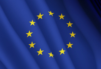 Illustration of a flying flag of the European Union