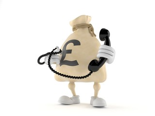 Pound money bag character holding a telephone handset