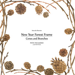 New year design frame with cones and branches