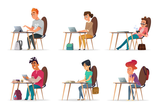 Young people sit at their desks. Situations in the classroom or at the university. Modern vector illustration. Character design.