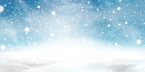 Natural Winter Christmas background with blue sky, heavy snowfall, snowflakes in different shapes and forms, snowdrifts. Winter landscape with falling christmas shining beautiful snow.