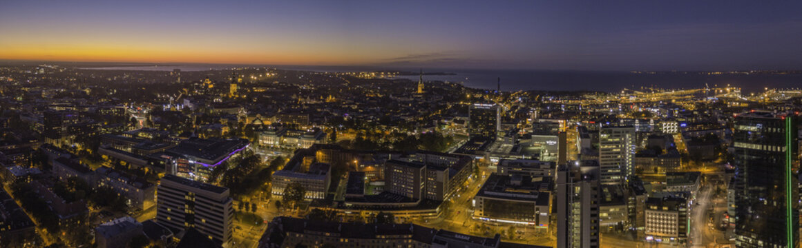 Aerial view of night city Tallinn Estonia