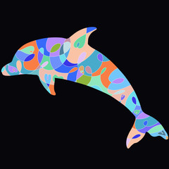 Patterned colorful dolphin on a black background