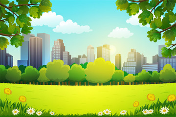 Vector illustration of central park with skyscrapers background in spring.