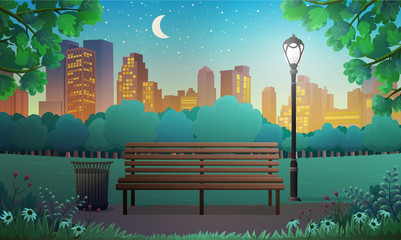 Vector illustration of bench and streetlight in city park with skyscrapers background at night.