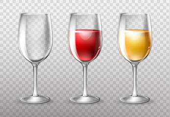 Three wine glasses, empty and full of red and white wine, vector 3D realistic illustration isolated on background. Transparent glassware, element design for menu, shop windows