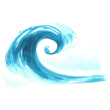 Sea wave. Abstract watercolor hand drawn illustration, Isolated on white background