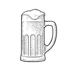 Glass beer. Vector engraving black vintage illustration isolated on white
