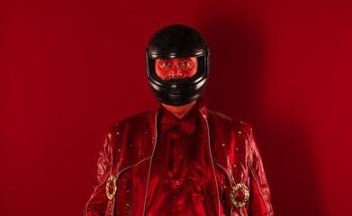 biker portrait on red background